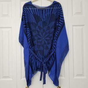 BCB Maxazria Swimsuit Cover Up Caftan Blue XS/S